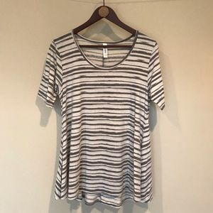 Lularoe Perfect T Neutral Gray and White Stripes
